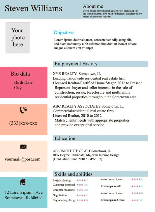 Combined resume format