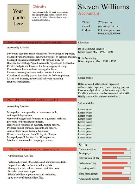 Experience based resume